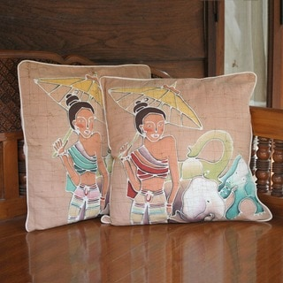 Handmade Set of 2 Cotton 'Grace and Power' Cushion Covers (Thailand)