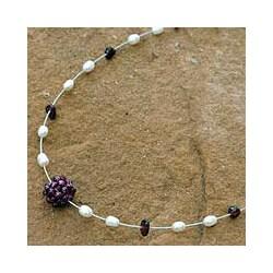 Handmade Pearl and Garnet 'Caviar' Necklace (Thailand)