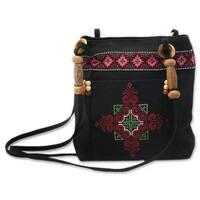 Handmade Cotton 'Mountain Signals' Shoulder Bag (Thailand)