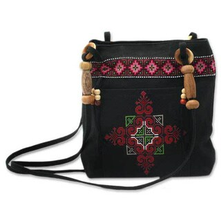 Handmade Cotton 'Mountain Signals' Shoulder Bag (Thailand)