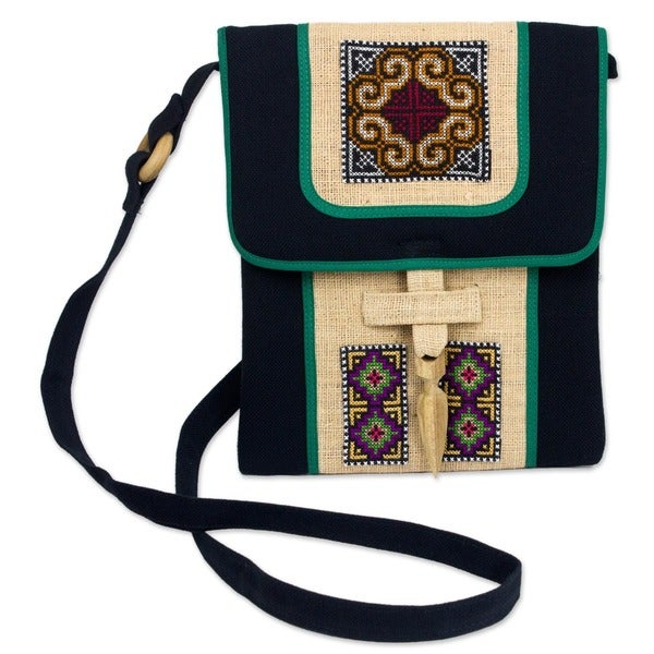 Colors of the Night Multicolor Tribal Embroidery on Black Cotton and Hemp Long Strap Womens Cross Body Mini Bag (Thailand)