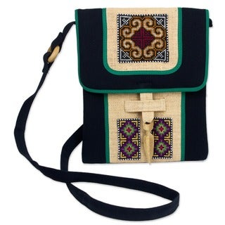 Colors of the Night Multicolor Tribal Embroidery on Black Cotton and Hemp Long Strap Womens Cross Body Shoulder Bag (Thailand)