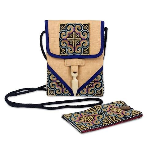 Handmade Ultimate Blue Hemp Handbag and Phone Pouch (Thailand)