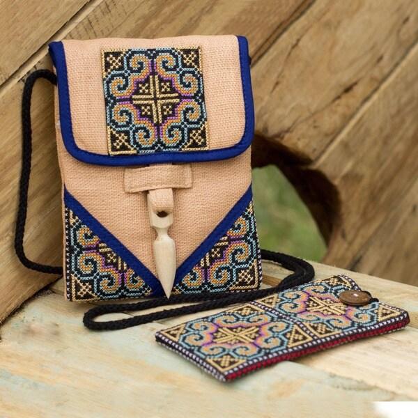 'Ultimate Blue' Hemp Handbag and Phone Pouch (Thailand)