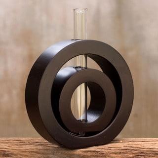 Mango Wood 'Successive Circles' Vase , Handmade in Thailand