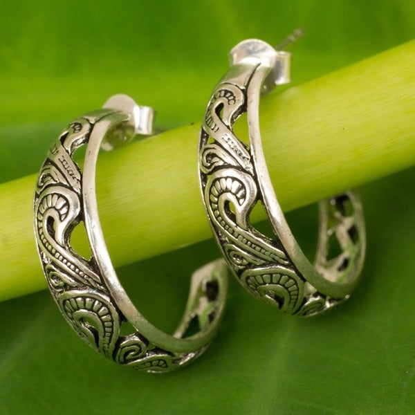 Sterling Silver 'Moon in the Forest' Earrings (Thailand)