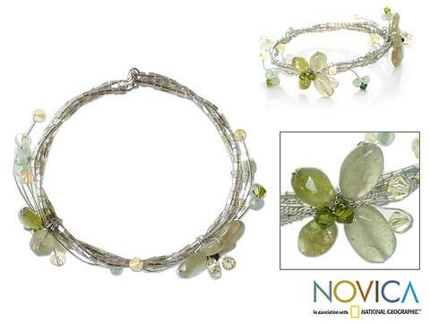 Quartzite and Peridot 'Butterfly Bloom' Bracelet