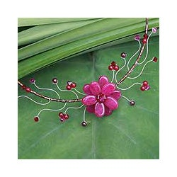 Stailness Steel Quarztite and Garnet 'Red Bouquet' Choker (Thailand)