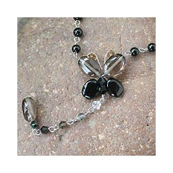 Steel Smokey Quartz 'Black Butterfly Secrets' Necklace (Thailand)