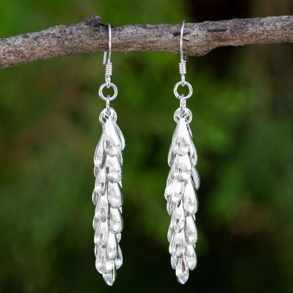 Heavenly Dewdrops Cascade from Hooks in 925 Sterling Silver Handmade Womens Modern Long Dangle Ea (Thailand)