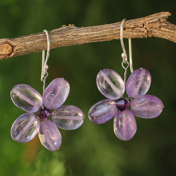Mystic Daisy Purple Amethyst Petals Crystal Bead Center Flowers on 925 Sterling Silver Wires Womens Dangle Earrings (Thailand)