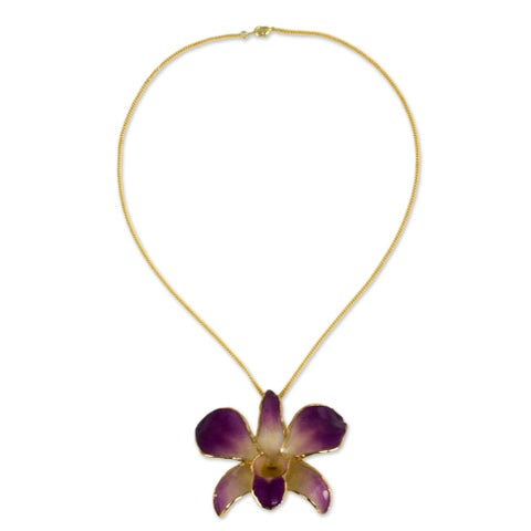 Handmade Goldplated Orchid Orchid Fantasy Brooch Herringbone Chain Style Necklace (Thailand)