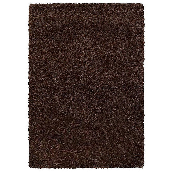 Hand-woven Shaggy Brown Polyester Rug (5' x 8')