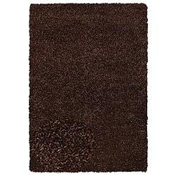 Hand-woven Shaggy Brown Polyester Rug (5' x 8') - Thumbnail 0