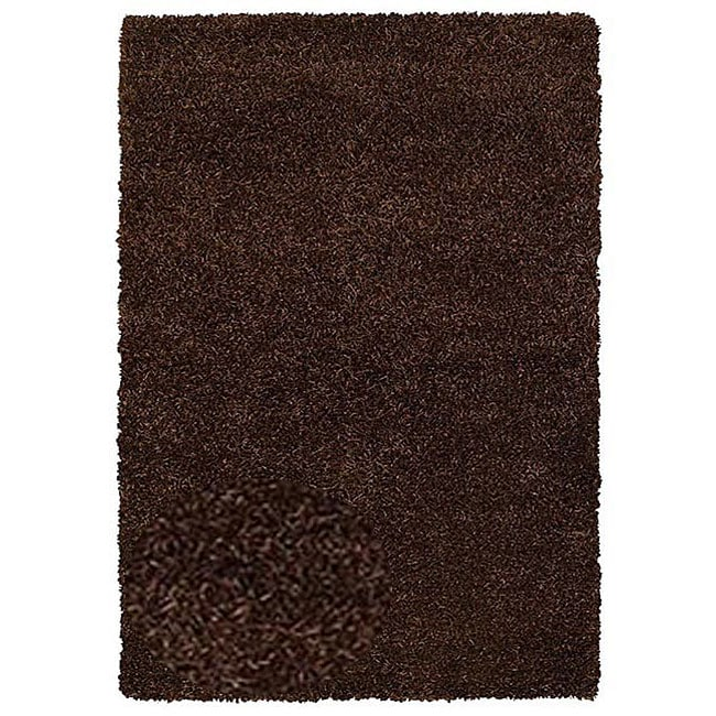 Hand-woven Shaggy Brown Polyester Rug (6' x 9')