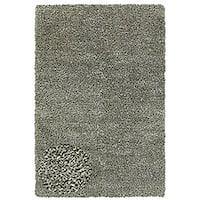 Hand-woven Shaggy Silver Polyester Rug (4' x 6')