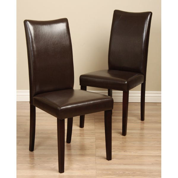 Shino brown bi cast leather dining chair set of 2 free for Brown leather dining room chairs