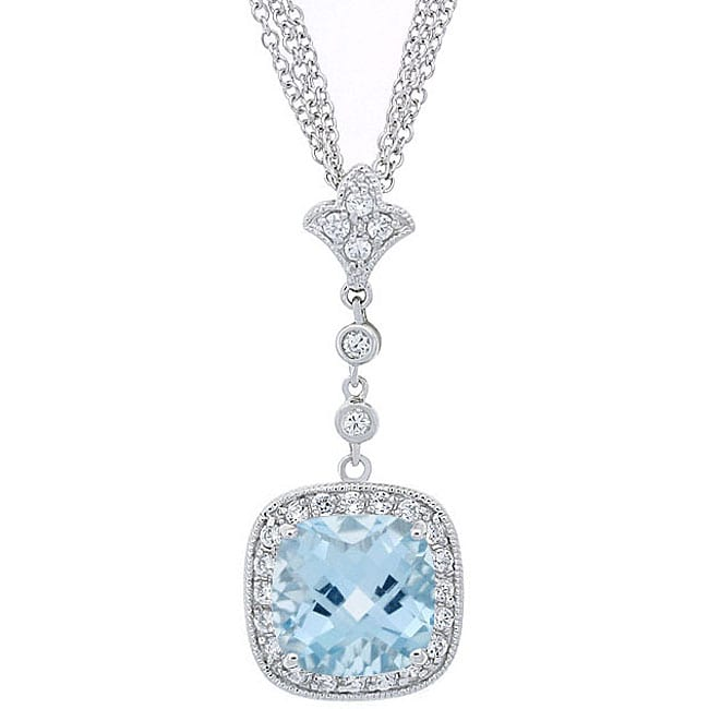 208f7c3d3df465 Shop Glitzy Rocks Sterling Silver Blue Topaz and CZ Triple Chain Necklace -  On Sale - Free Shipping Today - Overstock - 3377267