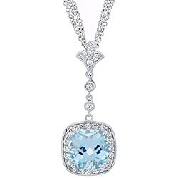 Glitzy Rocks Sterling Silver Blue Topaz and CZ Triple Chain Necklace