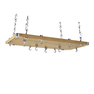 Rectangular Natural Wood Ceiling Kitchen Rack