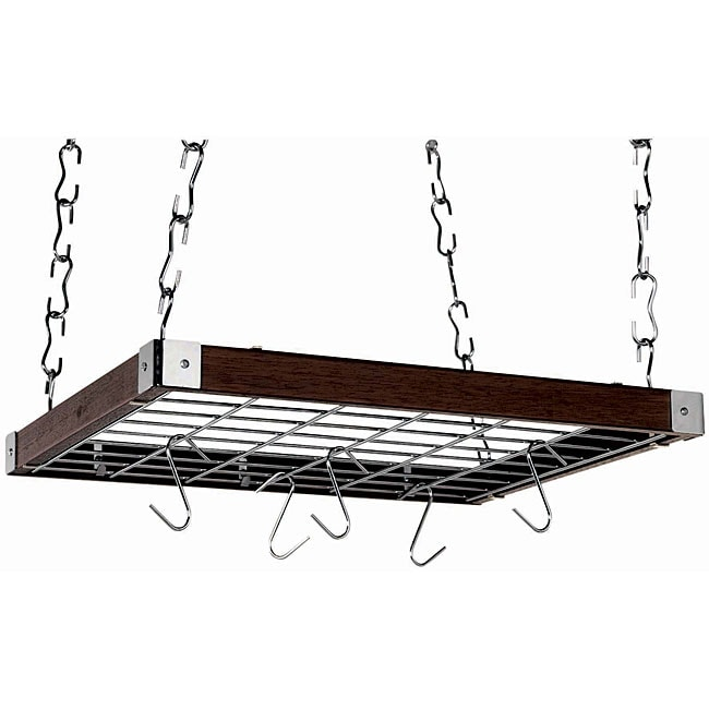 Square Espresso Wood Ceiling Rack