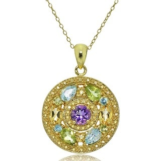 Glitzy Rocks 18k Gold and Sterling Silver Multi-gemstone Medallion Necklace