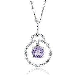 Glitzy Rocks Sterling Silver Amethyst and CZ Circle Pendant