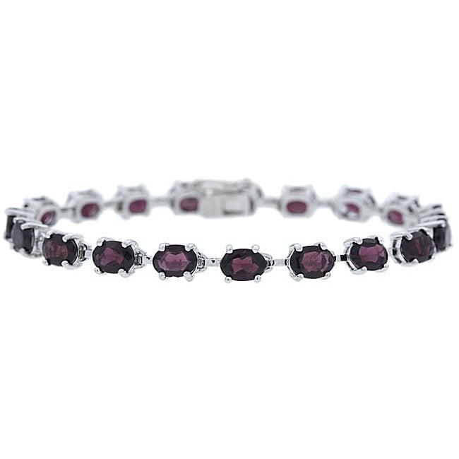 Glitzy Rocks Sterling Silver Garnet Bracelet