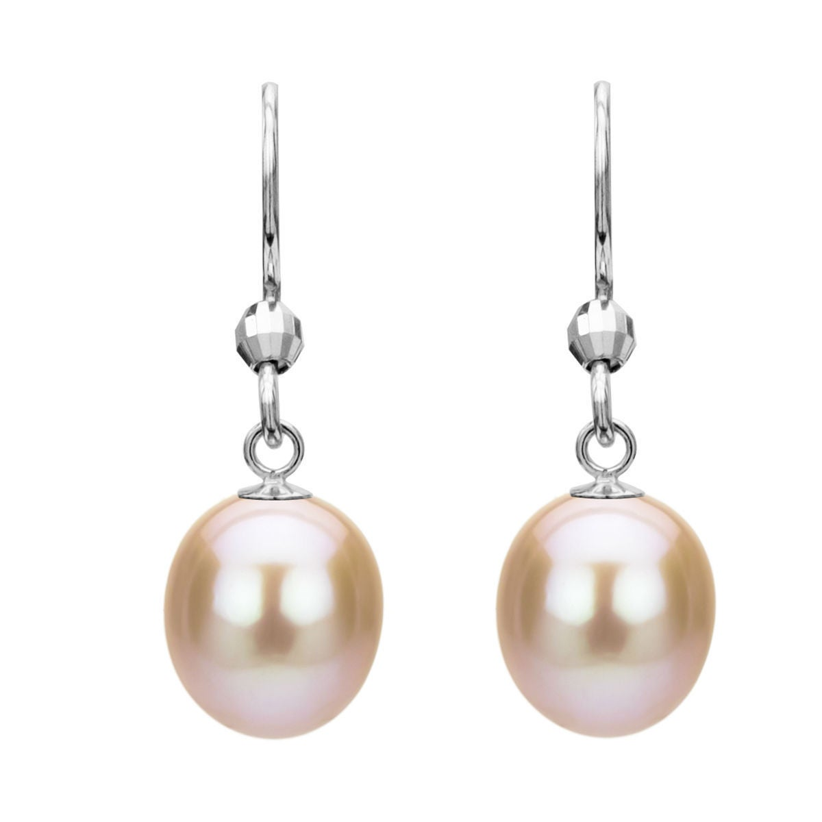 Davonna Sterling Silver Pink Freshwater Pearl Earrings 10 11 Mm