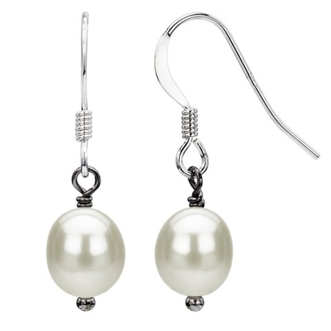 DaVonna Silver 6-7mm White freshwater Pearl Drop Earrings
