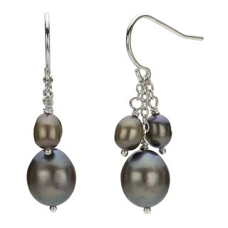 DaVonna Silver Grey FW Pearl Hangy Earrings (4-7.5 mm)