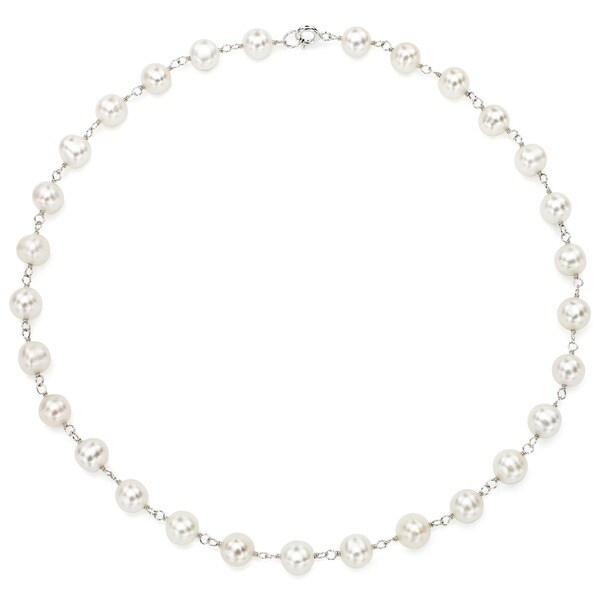 DaVonna Sterling Silver White Freshwater Pearl Link Necklace (8-8.5 mm)
