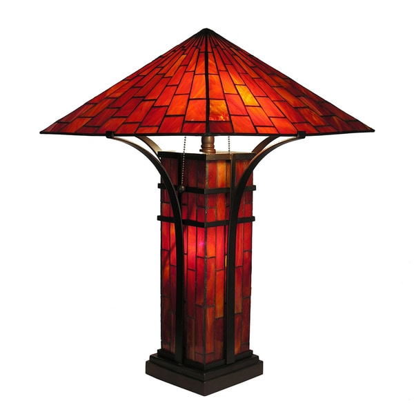 Tiffany-style Mission Double Lite Table Lamp