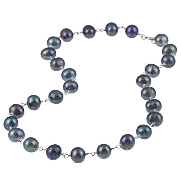 DaVonna Sterling Silver Black Freshwater Pearl Link Necklace (8-8.5 mm)