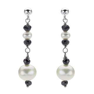DaVonna Silver White FW Pearl and Black Onyx Drop Earrings with Gift Box