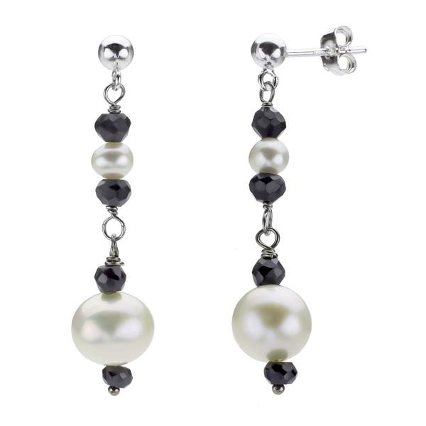 14k White Gold 4.5mm Round June-FW Cultured Pearl Post Earrings