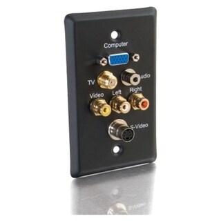 C2G Single Gang HD15 VGA + F-Type + 3.5mm + S-Video + RCA Audio/Video