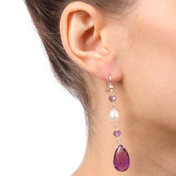 DaVonna Silver White FW Pearl and Amethyst Hangy Earrings (7-8 mm) - Thumbnail 1