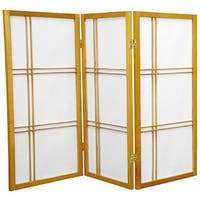 Handmade Wood and Rice Paper Double Cross 3-foot Shoji Screen (China)