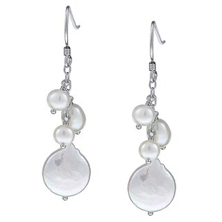 DaVonna Sterling Silver Freshwater Pearl Dangling Earrings (5-13 mm)