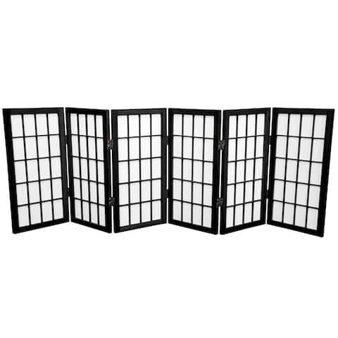 Handmade Wood/ Paper 2' 3-panel Miniature Windowpane Shoji Screen - 24 x 36