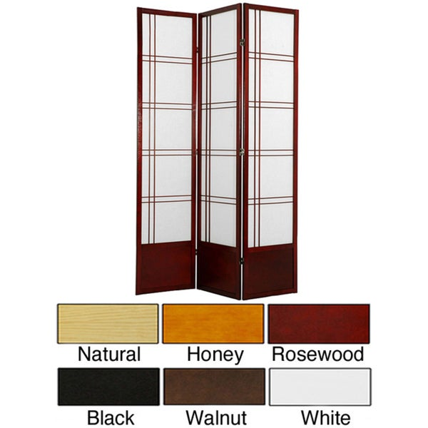 Wood and Rice Paper 6.5-foot 3-panel Double Cross Room Divider (China)
