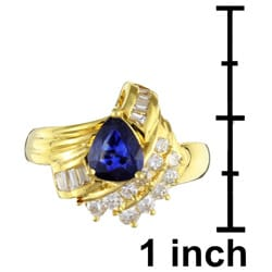 Kabella 18k Gold Pear Sapphire and 1/2ct TDW Diamond Ring (G-H, I1)