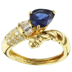 Kabella 18k Gold Pear Sapphire and 1/3ct TDW Diamond Ring (I-J, I)