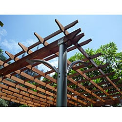 Comtemporary Aluminum Post Wood Top Pergola