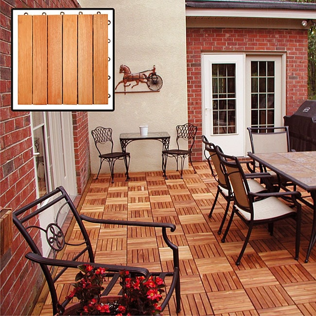 Vifah Eucalyptus 6-slat Snapping Deck Tiles (Box of 10), ...