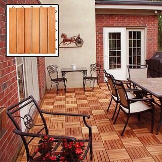 Vifah Brown Eucalyptus 6-slat Snapping Deck Tiles (Box of 10)