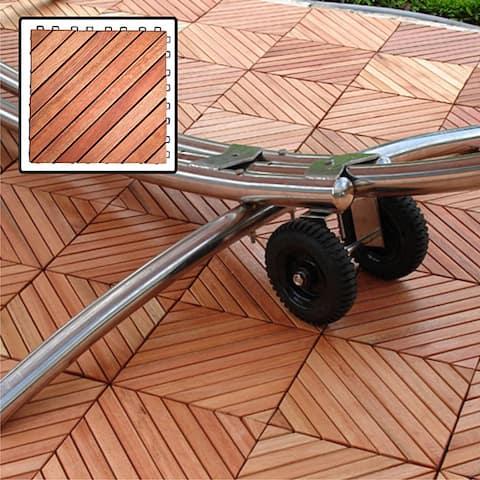 Eucalyptus 12-slat Diagonal Snapping Deck Tile (Set of 10)