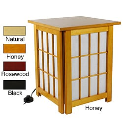 Handmade Hokkaido Wood End Table/Shoji Lamp with Lattice Design (China)