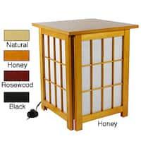 Handmade Hokkaido Wood End Table/Shoji Lamp with Lattice Design (China)